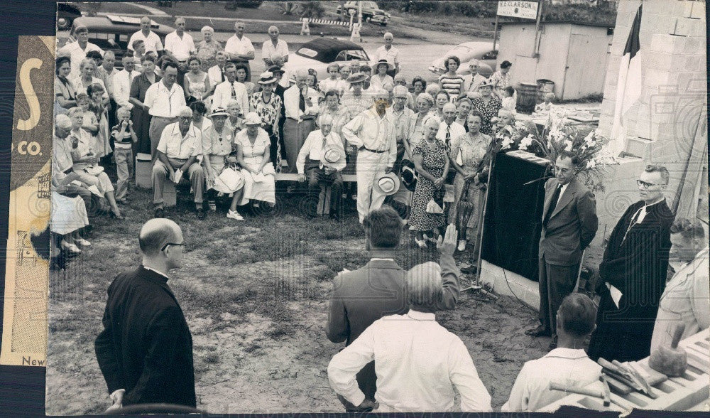 1959 St Petersburg FL Redeemer Lutheran Church Cornerstone Ceremony Press Photo - Historic Images