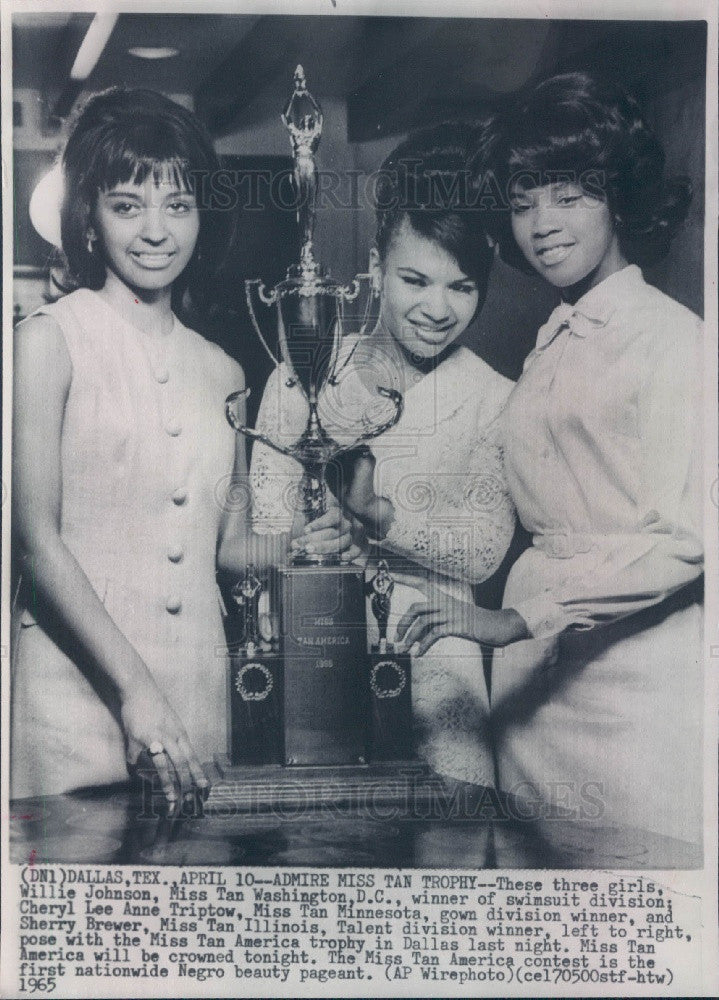 1965 Miss Tan America Willie Johnson/Cheryl Triptow/Sherry Brewer Press Photo - Historic Images
