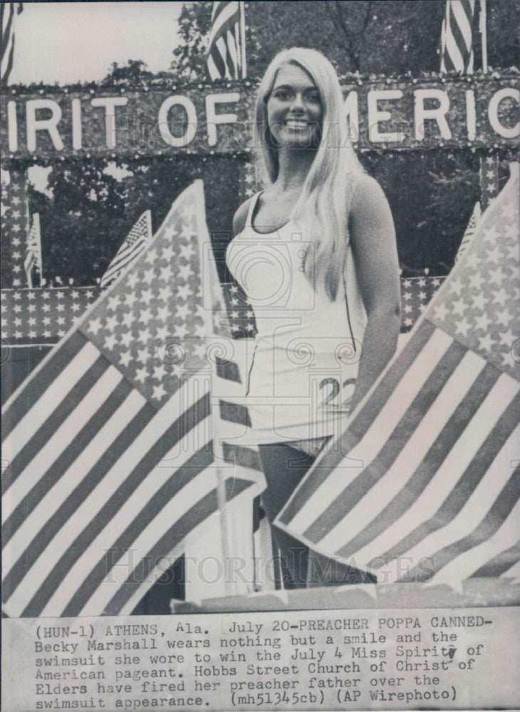 1972 Miss Spirit of America Becky Marshall Press Photo - Historic Images