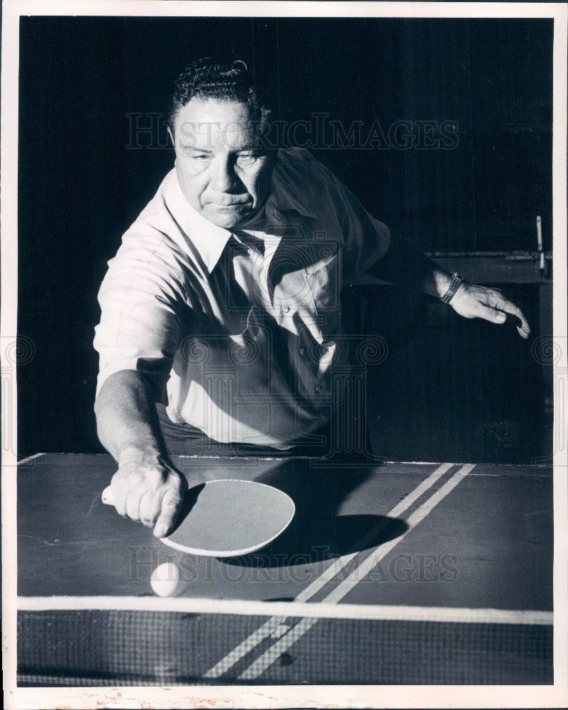1974 Mr Ping Pong America Bill Shine Demonstrating Dropshot Press Photo - Historic Images