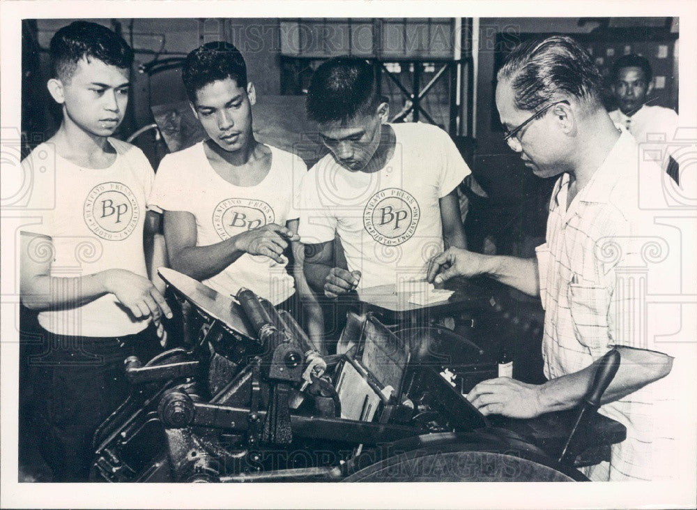 1964 SEATO in Manila Teaching Printing Apprentice Press Photo - Historic Images