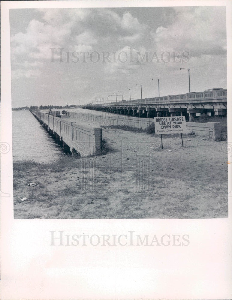 1971 Charlotte Harbor, Florida Old Collier Bridge over Peace River Press Photo - Historic Images