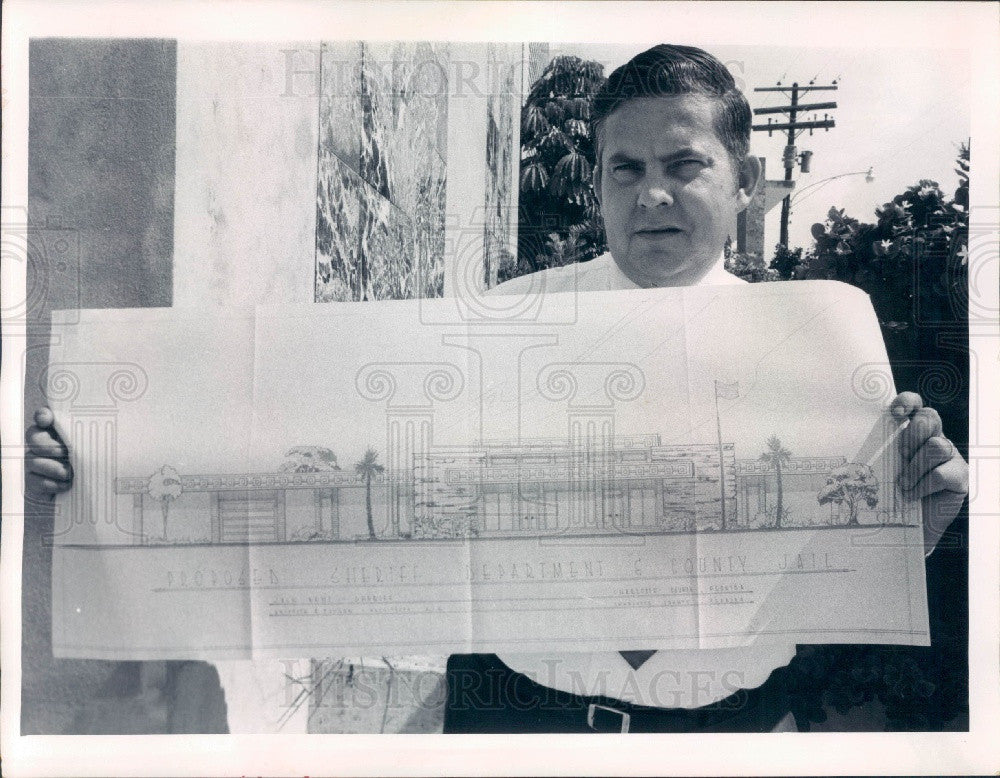 1970 Charlotte County, Florida Sheriff Jack Bent & New Jail Drawing Press Photo - Historic Images