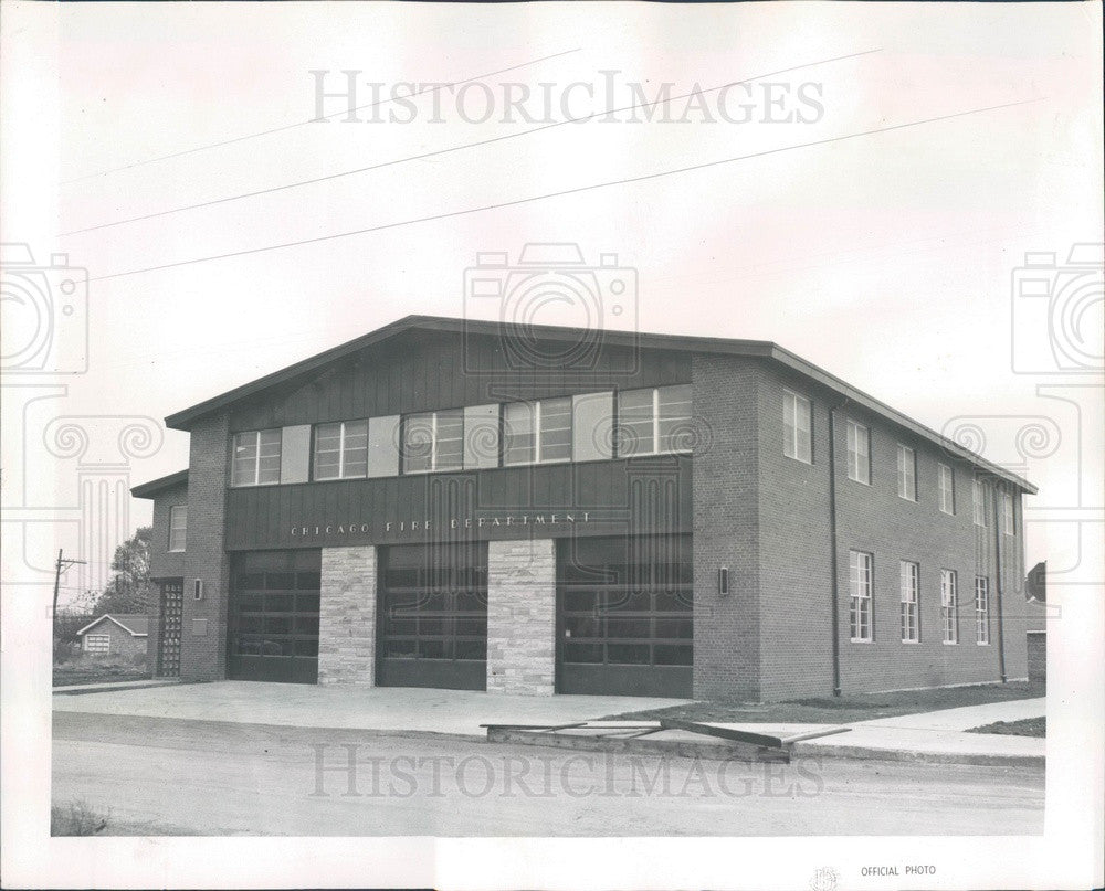 1960 Chicago, Illinois Fire Station at S Narragansett Press Photo - Historic Images