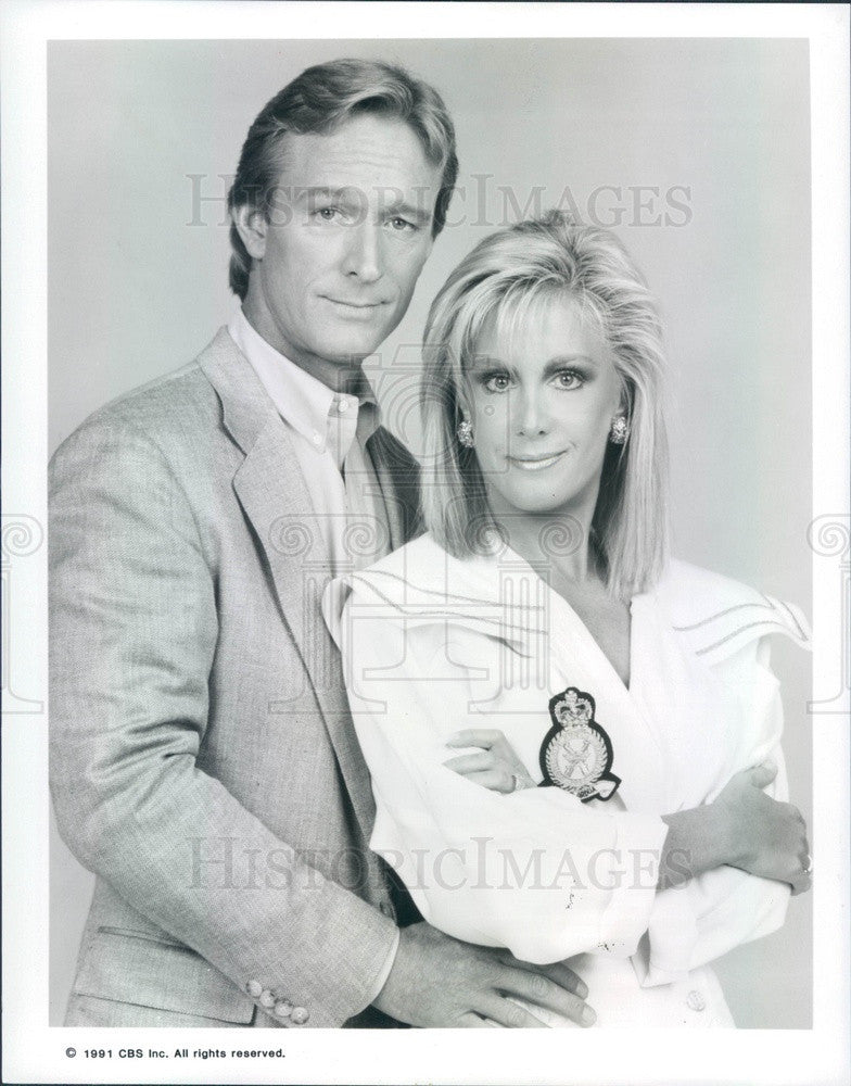 1991 Hollywood Actors Ted Shackelford & Joan Van Ark Press Photo - Historic Images