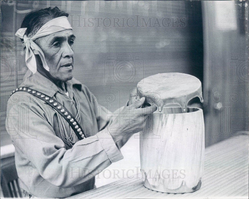 1971 Cochiti Pueblo, NM Juan Melchor Makes Drum from Aspen Log Press Photo - Historic Images