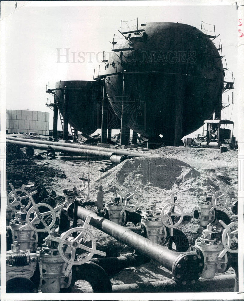 1958 Kansas Terminal Barrel Tanks & Blending Manifold Press Photo - Historic Images
