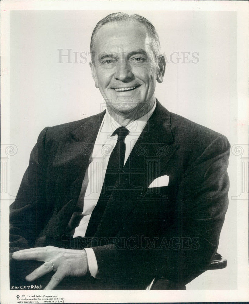 1960 Hollywood Actor & Movie Star Fredric March Press Photo - Historic Images