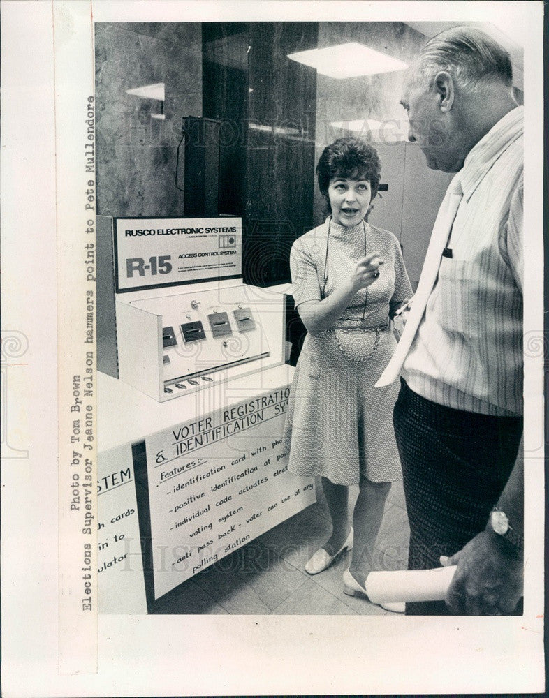 1973 Pinellas County, Florida Elections Supervisor Jeanne Nelson Press Photo - Historic Images