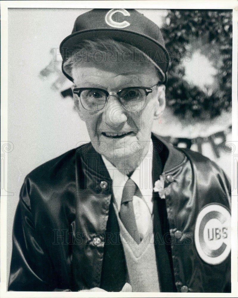 1983 Chicago Cubs Fan Emil Hochel on his 100th Birthday Press Photo - Historic Images