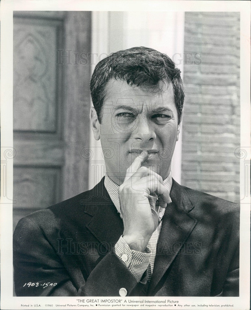 1961 Hollywood American Actor & Movie Star Tony Curtis Press Photo - Historic Images