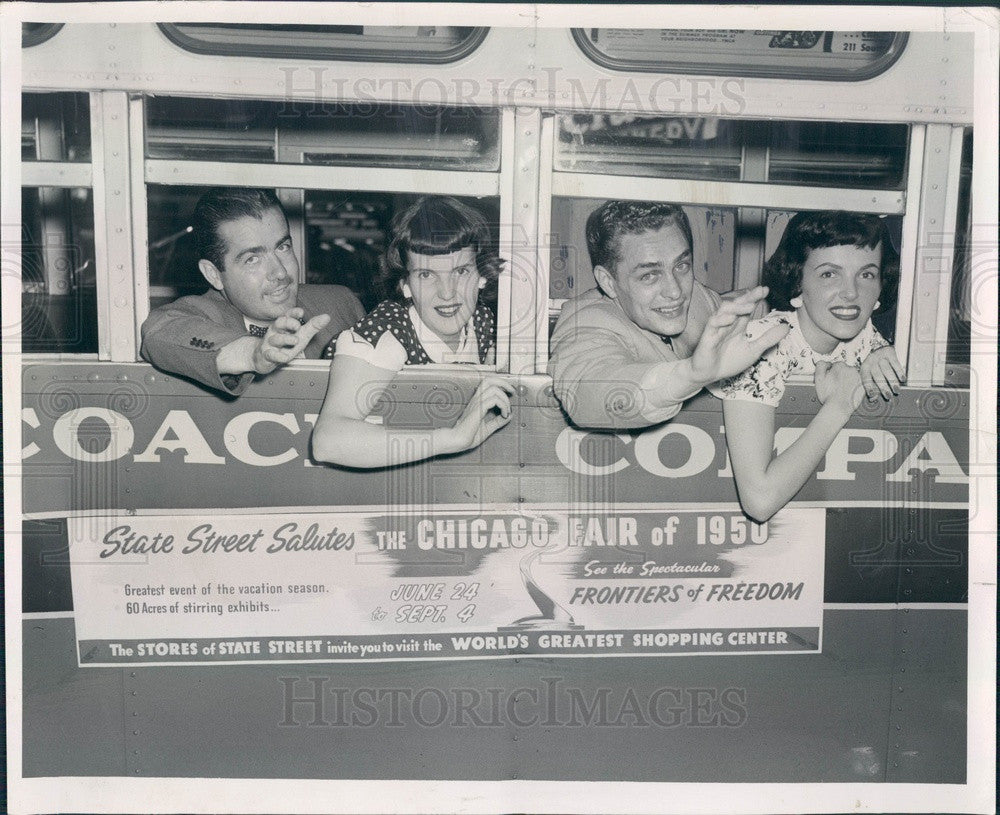 1950 Illinois Chicago Fair of 1950 Bus on Opening Day Press Photo - Historic Images