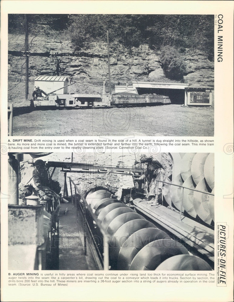 1967 Coal Mining, Drift Mine & Auger Mining Press Photo - Historic Images