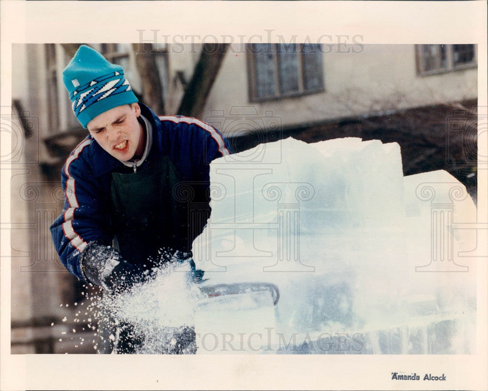 1992 University of Chicago Ice Sculptor Chris Koetke Press Photo - Historic Images
