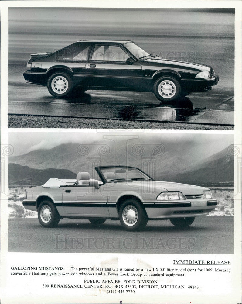 1988 Ford Mustang GT Convertible & Sedan Press Photo - Historic Images