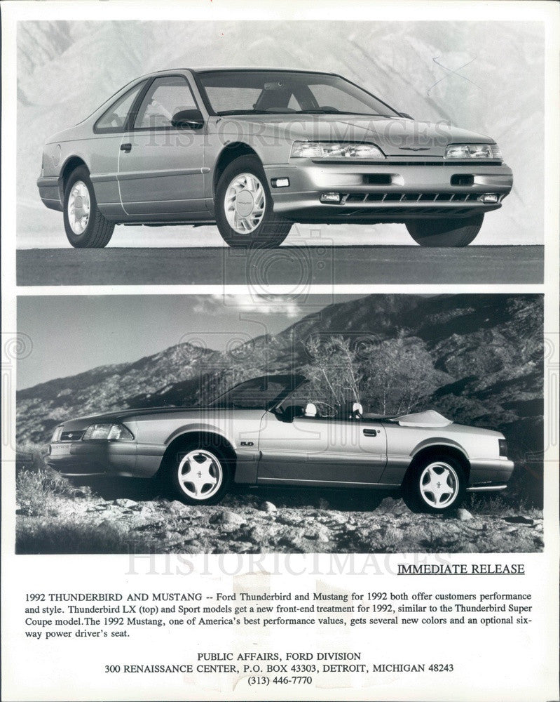 1992 Ford Mustang & Thunderbird 1992 Press Photo - Historic Images