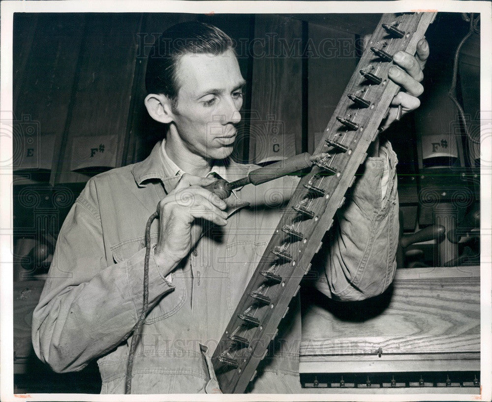 1949 Pipe Organ Electric Magnet Board Press Photo - Historic Images