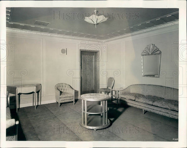 1929 Chicago, Illinois Civic Opera House Men's Lounge Press Photo - Historic Images