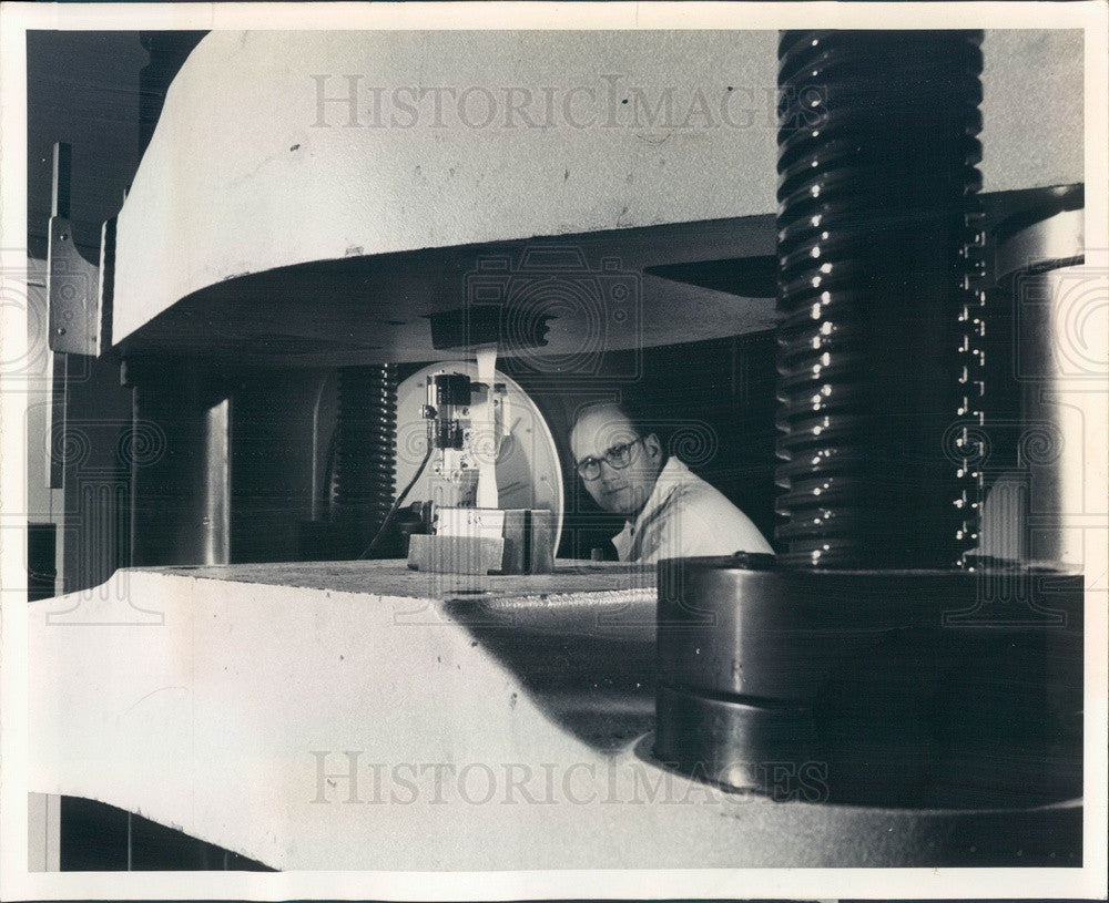 1969 Anderson, Indiana GM Guide Lamp Division Plastic Tensile Test Press Photo - Historic Images