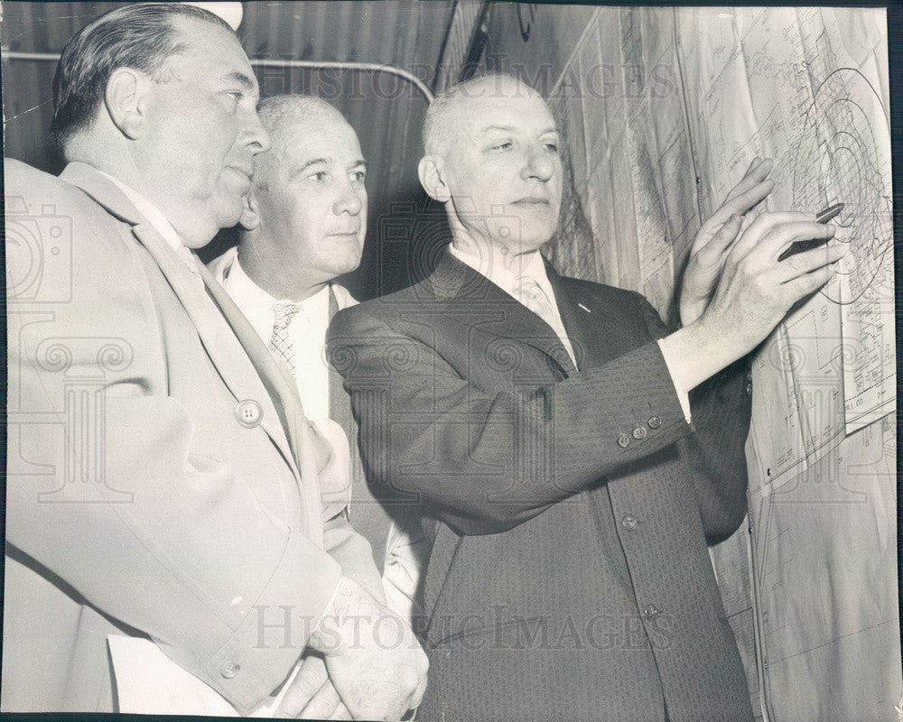 1958 Illinois Civil Defense Dir Woodward/Mayor Daley/Fire Comr Quinn Press Photo - Historic Images