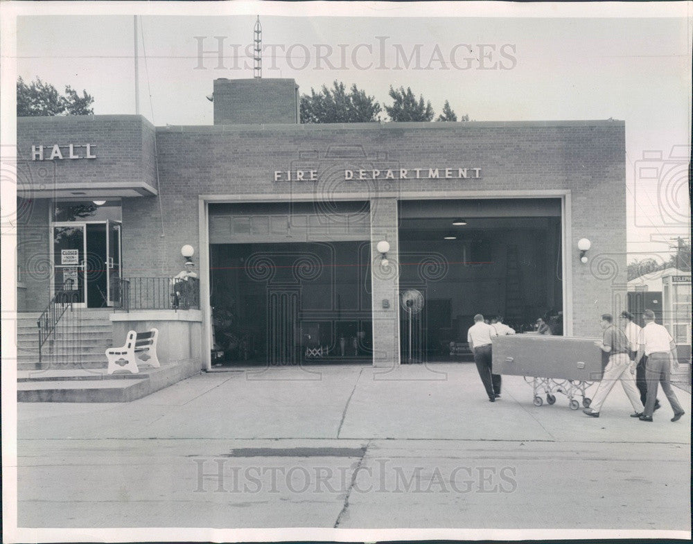 1961 Westmont, Illinois Fire Station Being Used as Morgue Press Photo - Historic Images