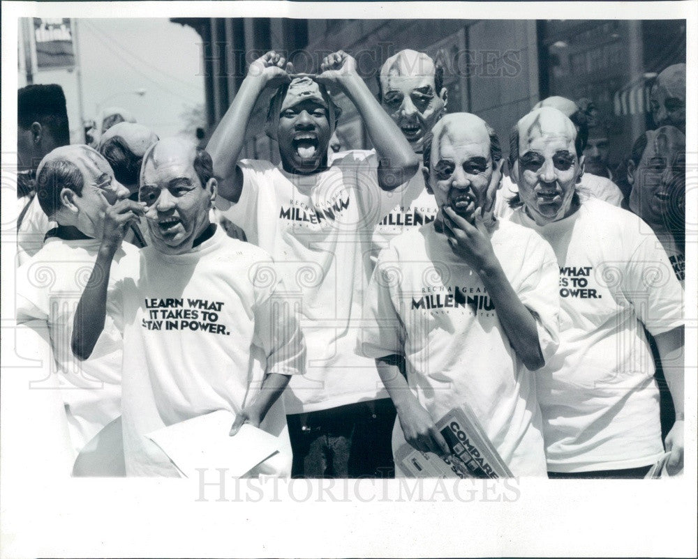 1992 Chicago, IL Lawrence Hall Youth Services in Gorbachev Masks Press Photo - Historic Images