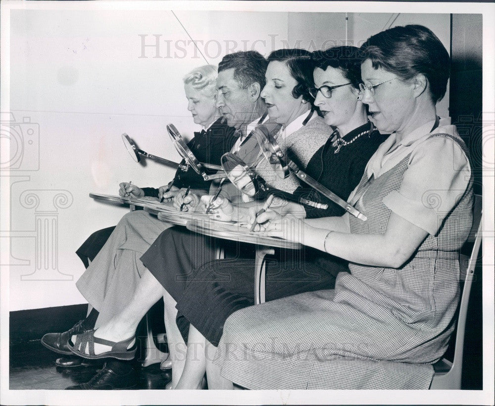 1956 Detroit, MI League for the Handicapped Lip Reading Training Press Photo - Historic Images
