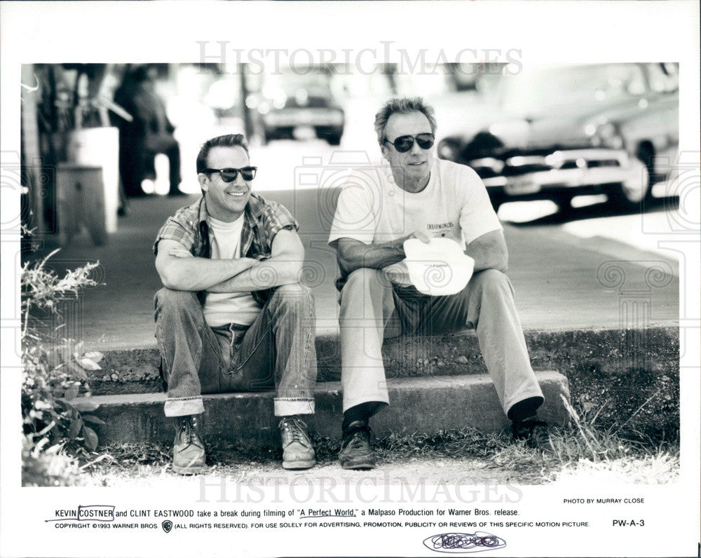1993 Hollywood Actors & Movie Stars Kevin Costner & Clint Eastwood Press Photo - Historic Images