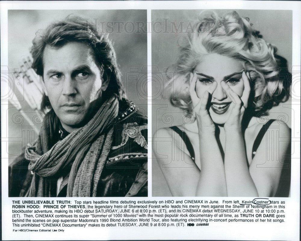 Undated Hollywood Actor & Movie Star Kevin Costner & Madonna Press Photo - Historic Images