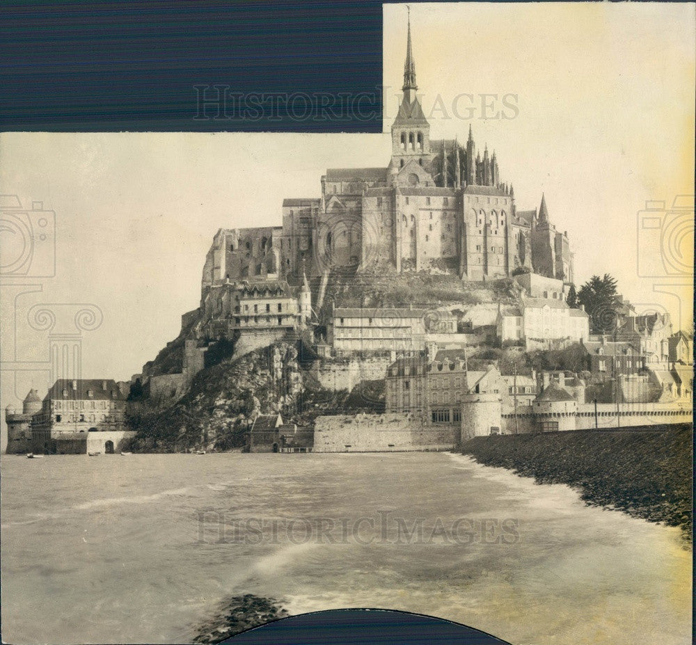 1932 France Mont St. Michel at High Tide Press Photo - Historic Images