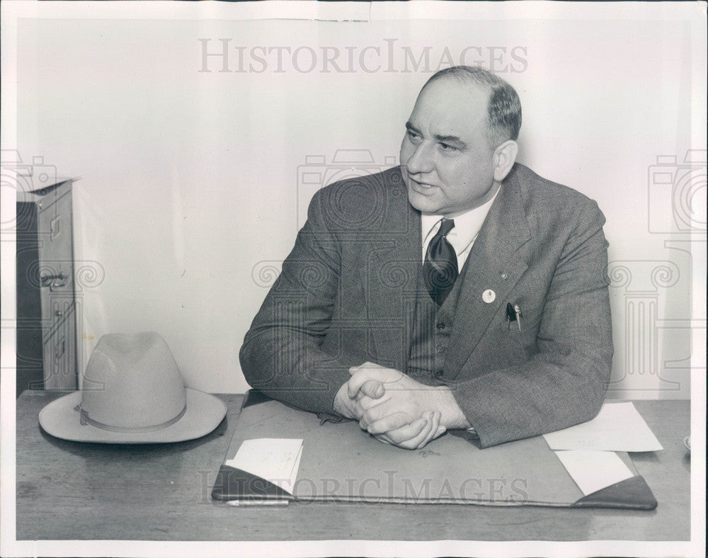1940 Center Line, Michigan Macomb County Sheriff Jacob Theut Press Photo - Historic Images
