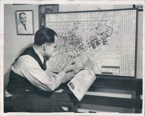 1936 Detroit, Michigan Radio Engineer WA Jacoby Press Photo - Historic Images