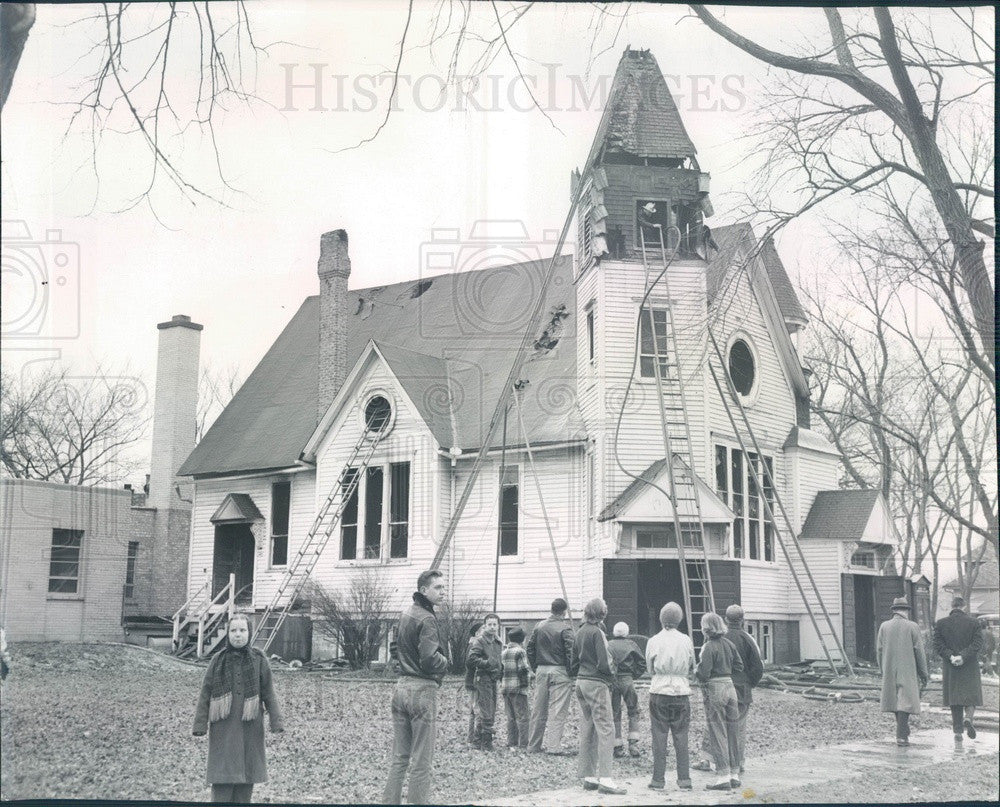1955 Chicago, Illinois Glen Congregational Church Fire Damage Press Photo - Historic Images