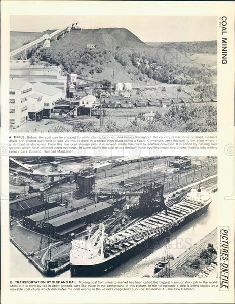 1967 Coal Mining, Stockpile at Tipple Plant, Transportation Press Photo - Historic Images