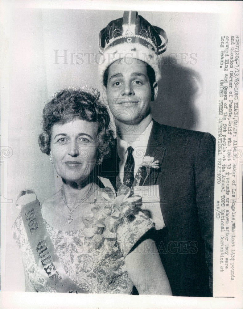 1963 Long Beach, CA TOPS Natl Convention King & Queen of Fat People Press Photo - Historic Images