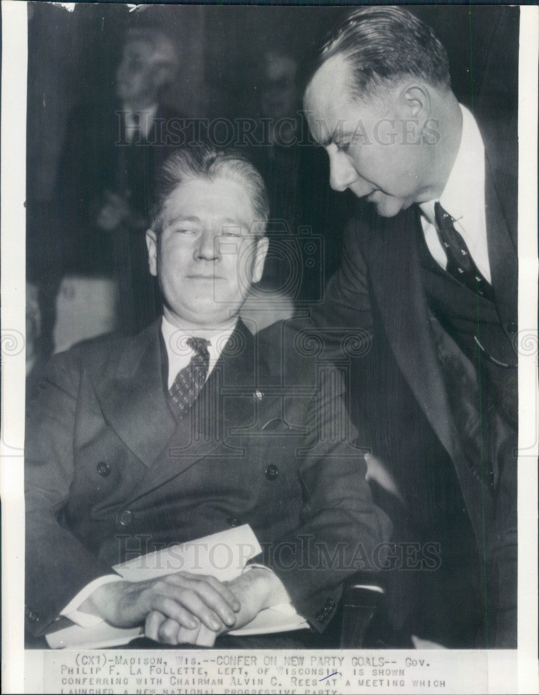 Undated Wisconsin Governor Philip La Follette & Chairman Alvin Rees Press Photo - Historic Images