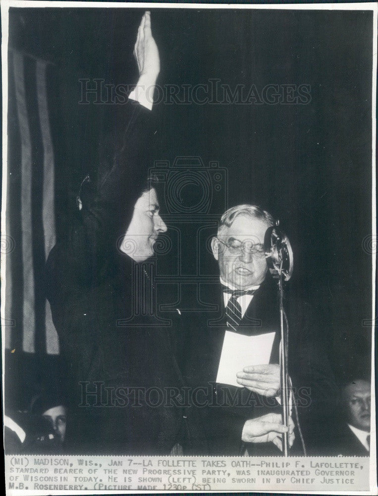 1935 Wisconsin Governor Philip La Follette Inauguration Press Photo - Historic Images
