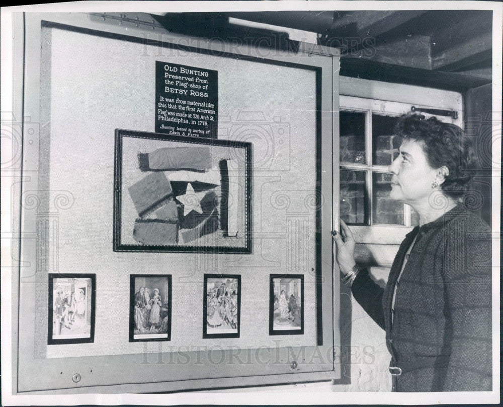 1952 Philadelphia, PA Flag House Museum, Betsy Ross Materials Press Photo - Historic Images