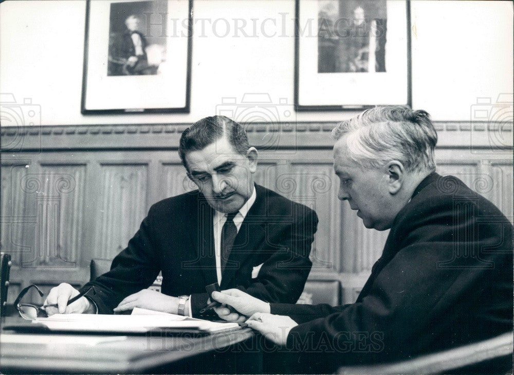 1963 London Labour Party Leader Harold Wilson & Chief Whip Press Photo - Historic Images