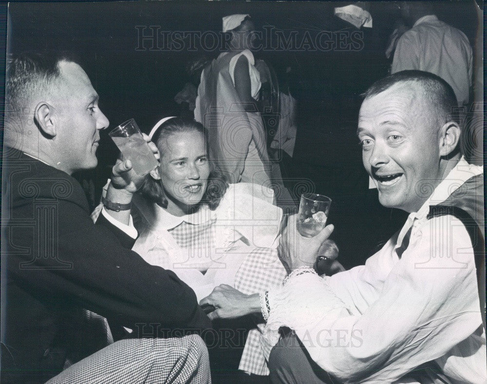 1960 Denver, CO Costume Party William Mead, Joan Lind, David Colgan Press Photo - Historic Images