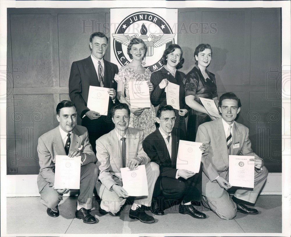1953 Chicago, Illinois Junior Achievement Scholarship Winners Press Photo - Historic Images