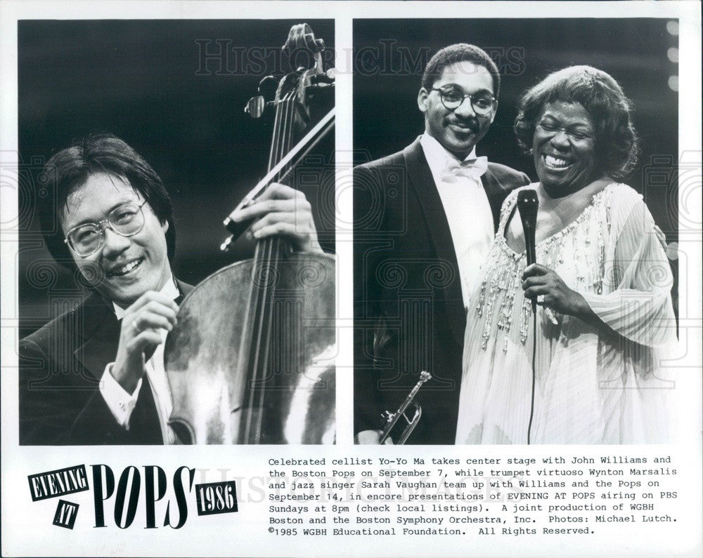 1989 Cellist Yo-Yo Ma/Trumpeter W Marsalis/Jazz Singer Sarah Vaughan Press Photo - Historic Images
