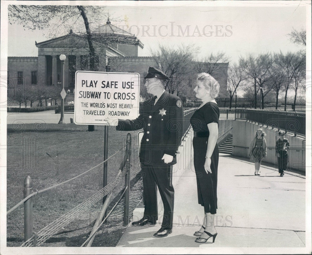 1955 Chicago Park District Sign Between History Museum & Aquarium Press Photo - Historic Images