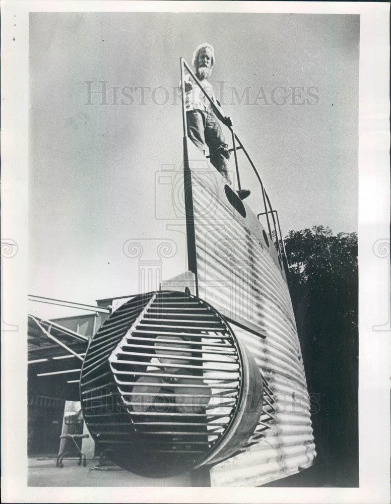 1972 Costa Mesa, CA Homemade Submarine with Sails Press Photo - Historic Images