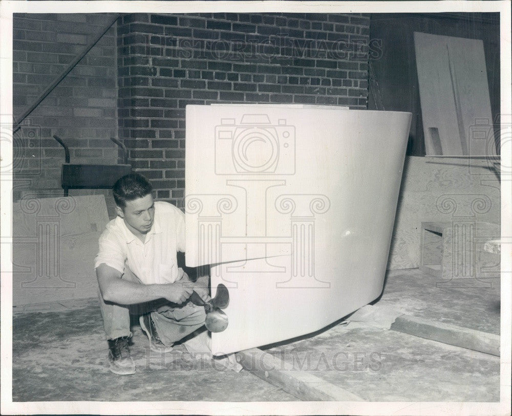 1956 Chicago, Illinois Homemade Submarine & Bill Vaughn Press Photo - Historic Images