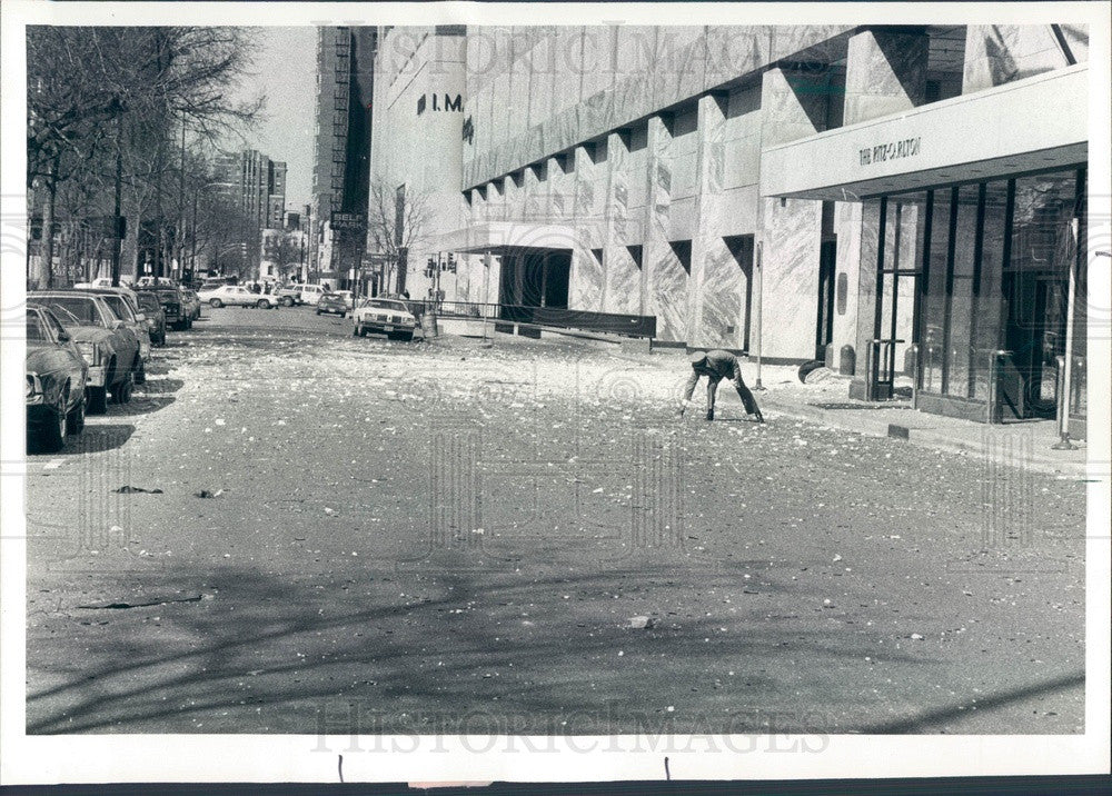 1979 Chicago, Illinois Water Tower Place Fallen Marble Slabs Press Photo - Historic Images
