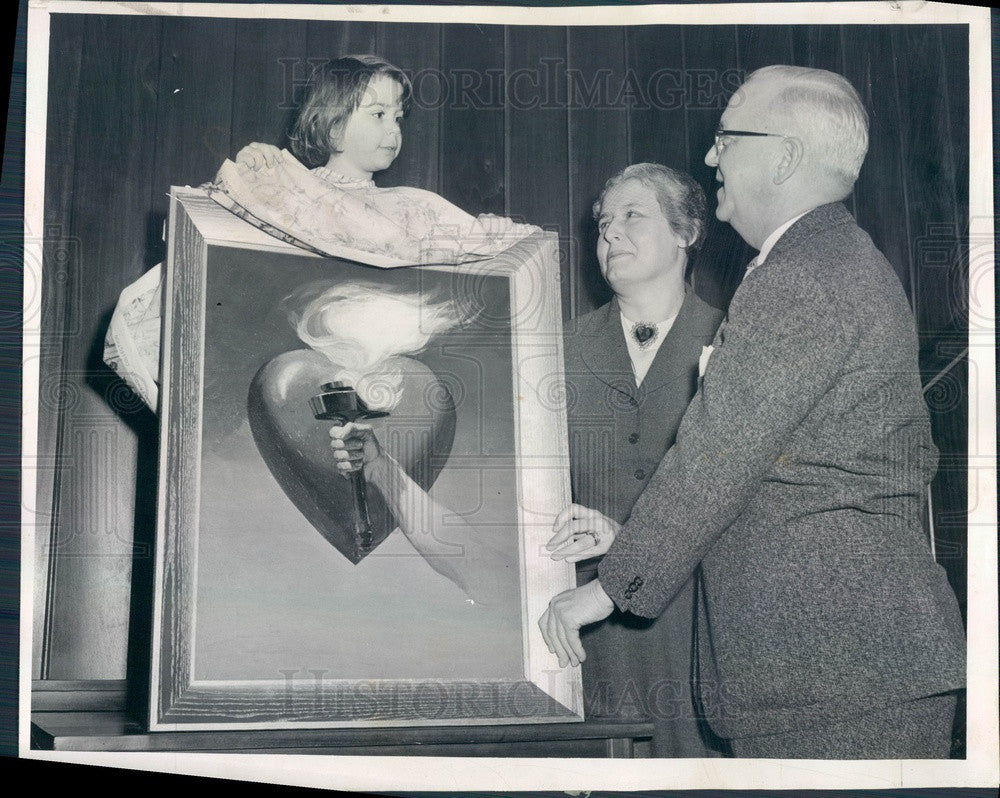 1955 Chicago, Illinois 1955 Heart Fund Poster Original Oil Painting Press Photo - Historic Images