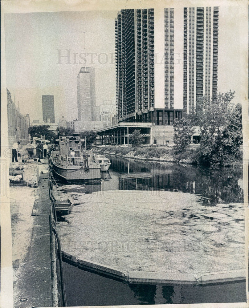 1969 Chicago, IL Oil Slick Containment, Foot of Randolph Street Press Photo - Historic Images