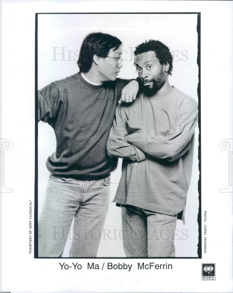 1992 Musicians Cellist Yo-Yo Ma & Vocalist Bobby McFerrin Press Photo - Historic Images