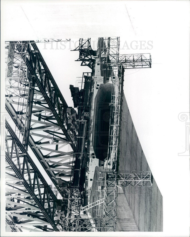 1982 Detroit, Michigan Zilwaukee Bridge & Hwy I-75 Construction Press Photo - Historic Images